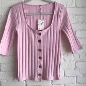 Free people pink button down blouse NWT medium
